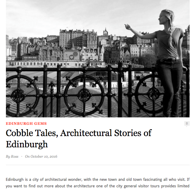 Excerpt of an article about architecture Edinburgh tours on Hidden Edinburgh