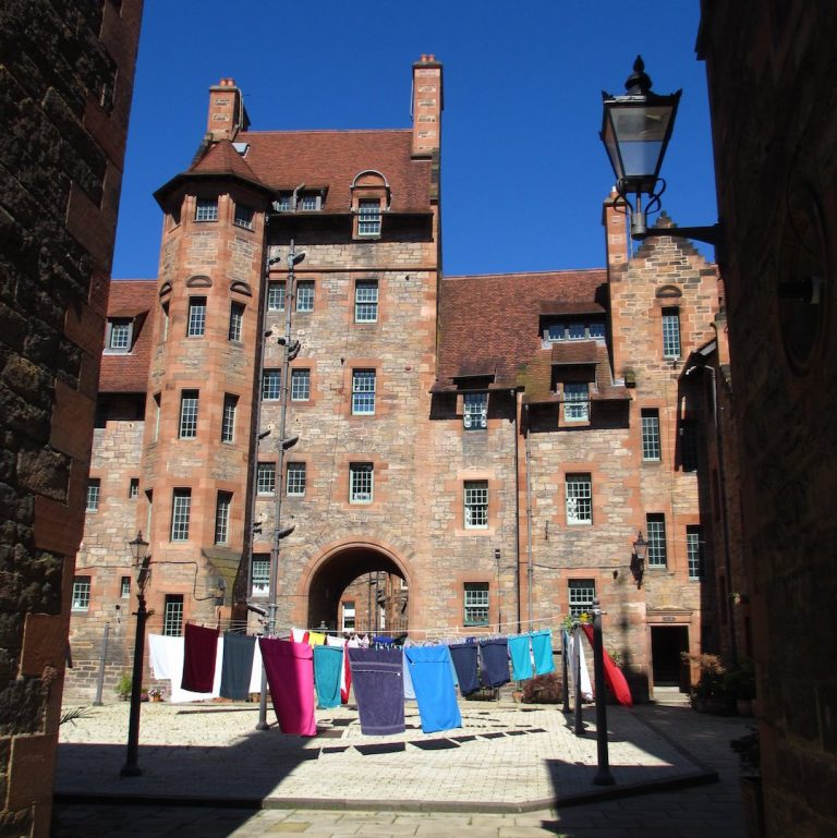 Inside the Well Court - Scottish Baronial architecture for social housing scheme in Dean Village