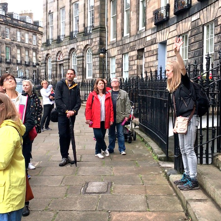 The walking group in Randolph Crescent on Edinburgh New Town Architecture Tour