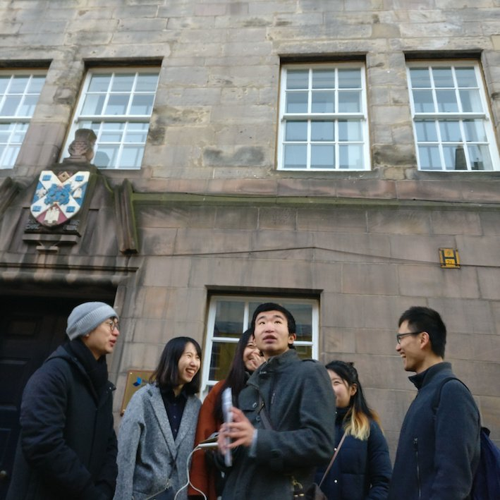 Mandarin Edinburgh Architecture Chinese speaking Tour Group and building