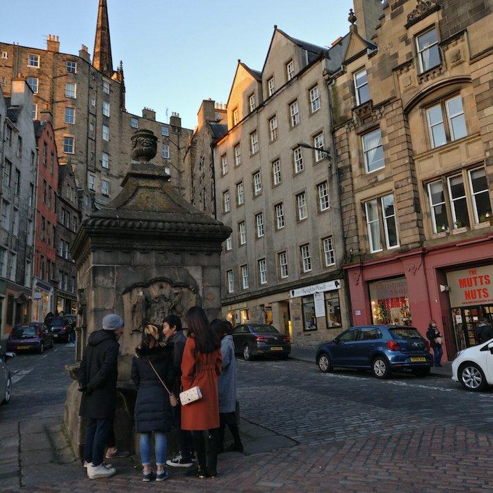 Mandarin Edinburgh Architecture Chinese speaking Tour Water Fountain
