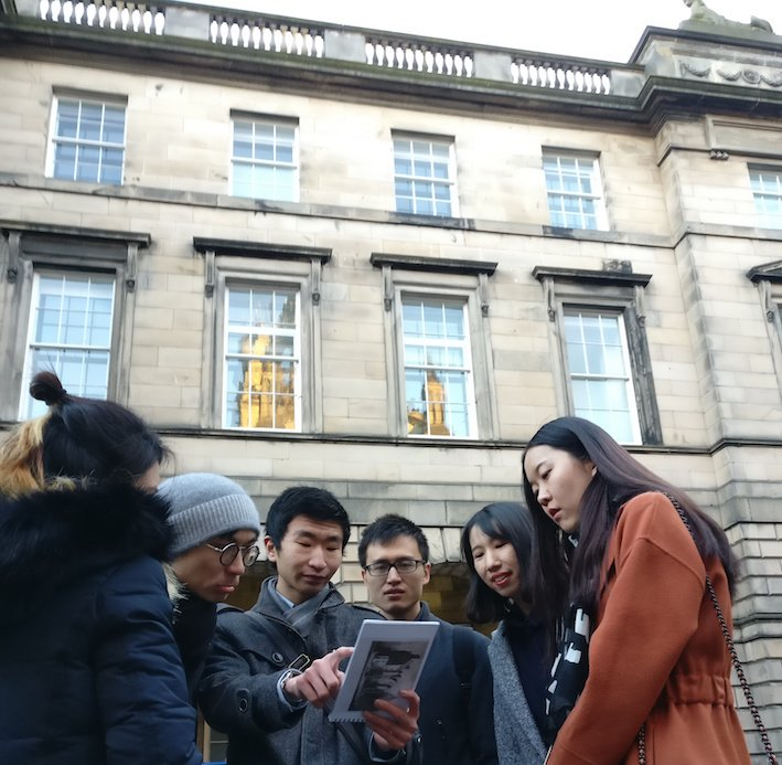 Mandarin Edinburgh Architecture Chinese speaking Tour looking at the book