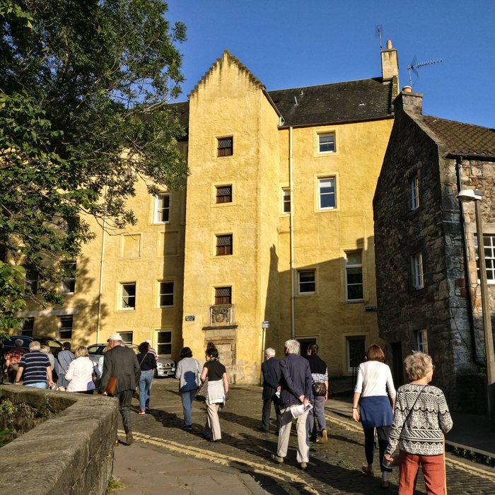 Architecture Tour group in sunny Dean Village