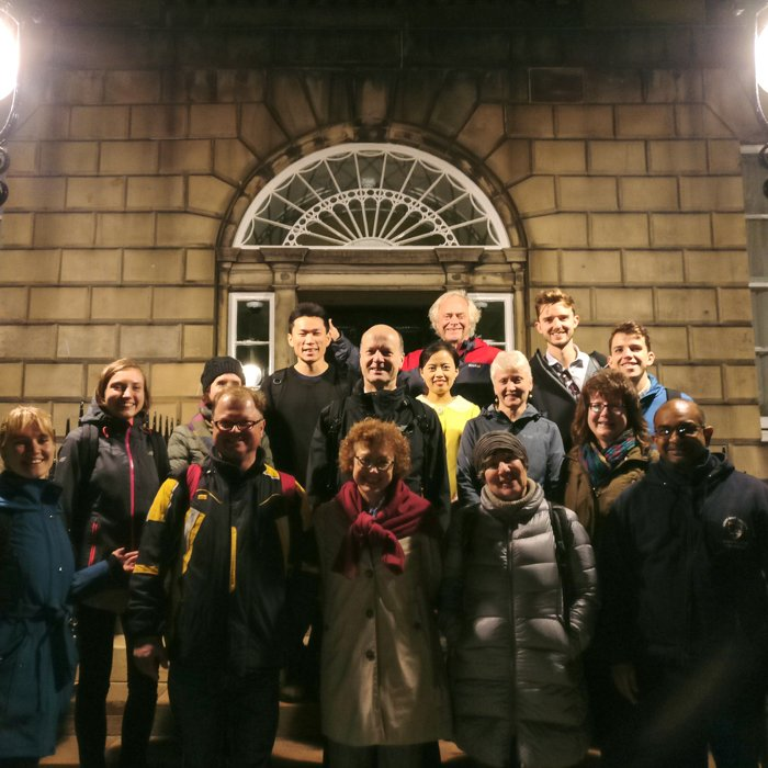 Architecture Tour group in Charlotte square, at night