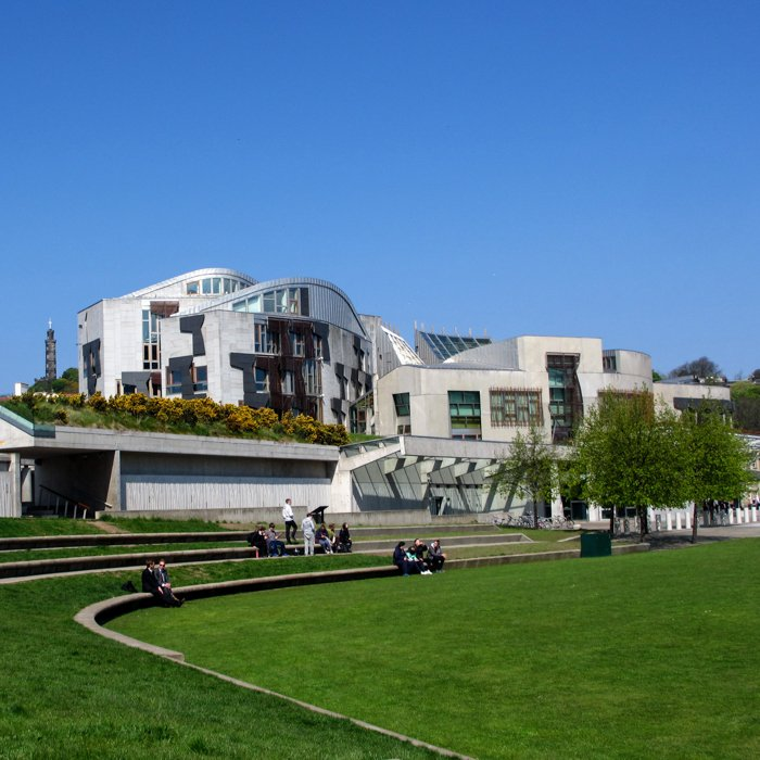Scottish Parliament Amphitheatre Grass Post modern summer | Old Town Architecture Tour Edinburgh