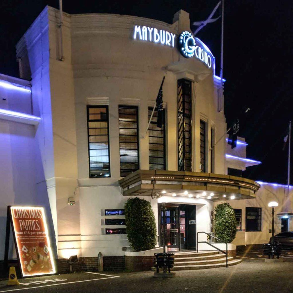 Maybury Casino Exterior at night_Art Deco Edinburgh