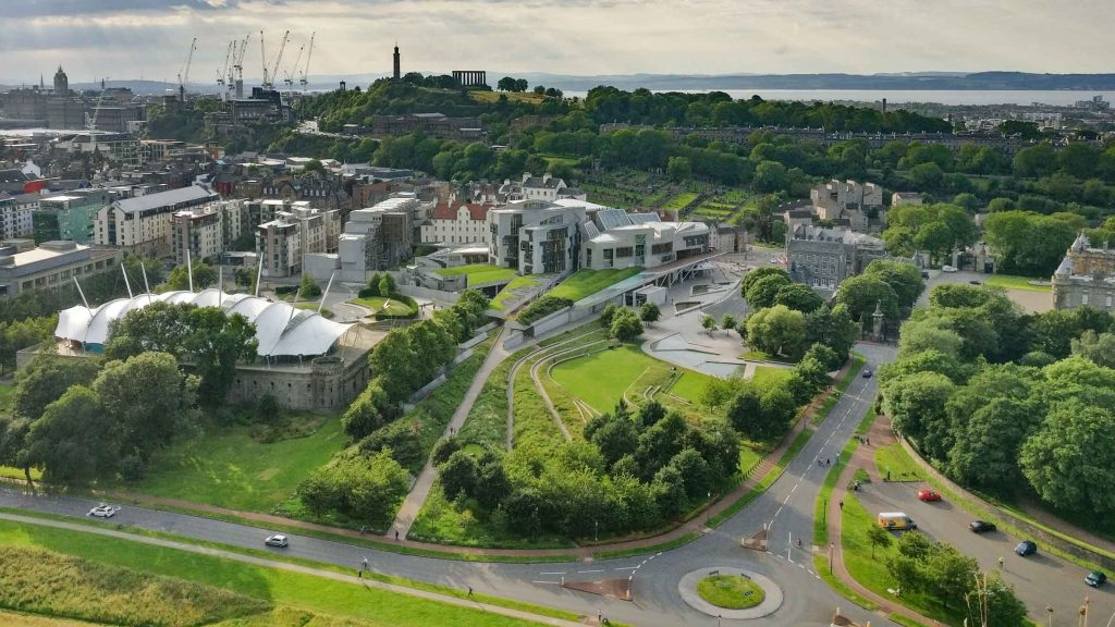 View from Salisbury Crags_Enric Miralles_Scottish Parliament Building_Edinburgh Walking Tour