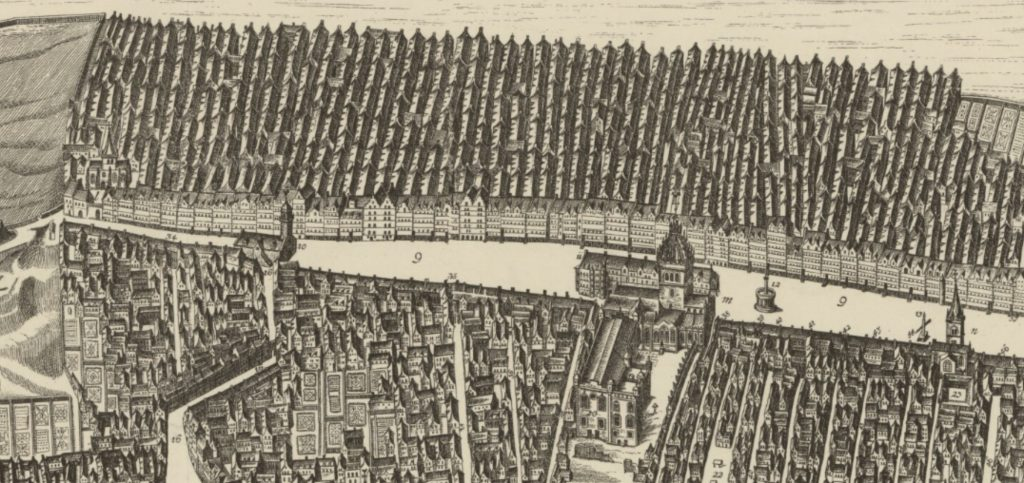 Bird's eye view of Edinburgh Old Town in 1647 : by James Gordon of Rothiemay