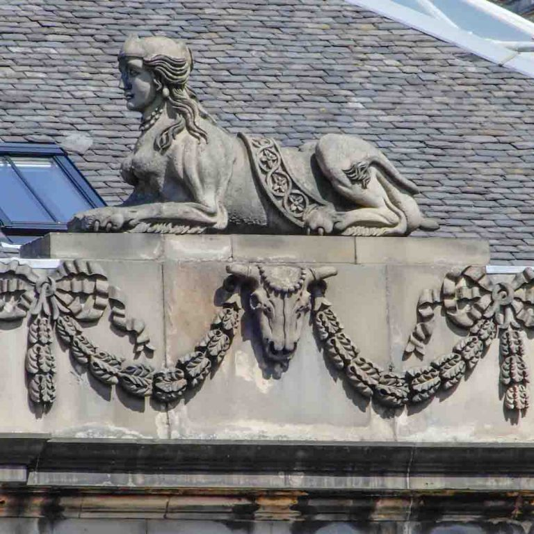 Charlotte Square sphinx seen on Edinburgh New Town audio tour