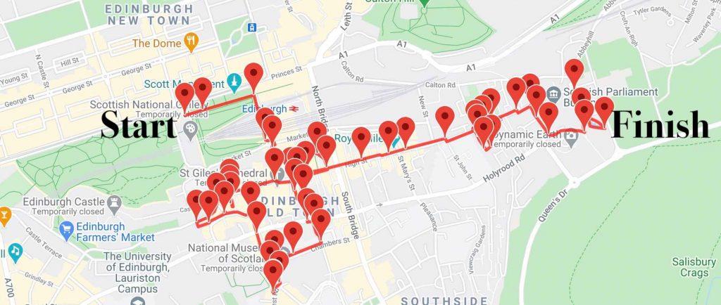 Map of Edinburgh Old Town audio tour