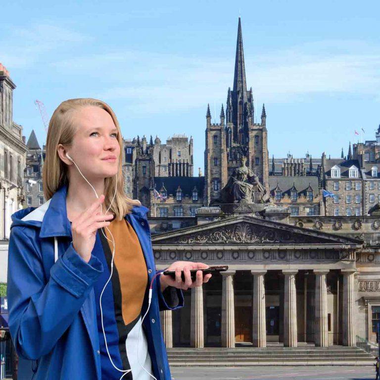 A person on audio tour of Edinburgh New Town